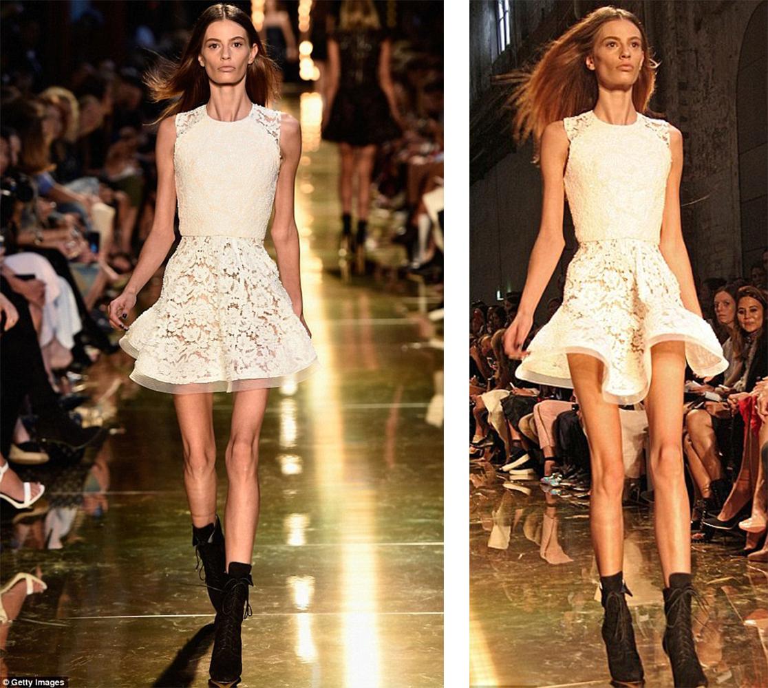 Haut Und Knochen Laufstegmodel Cassie Van Der Dungen In Einem Weißen Kleid.  Runway Model ...
